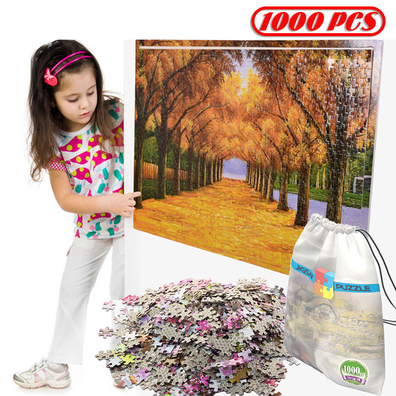 75*50cm With Storage Bag DIY 1000Pcs Jigsaw Puzzle Wooden Paper Puzzles Educational Toys For Children Room Decoration Stickers