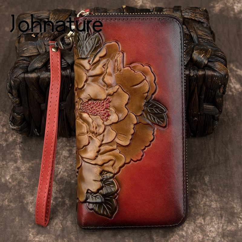 Johnature Genuine Leather Luxury Wallet Retro 2020 New Women Wallet Card Holder Phone Purse Hand Wallet Cowhide Clutch Wallets