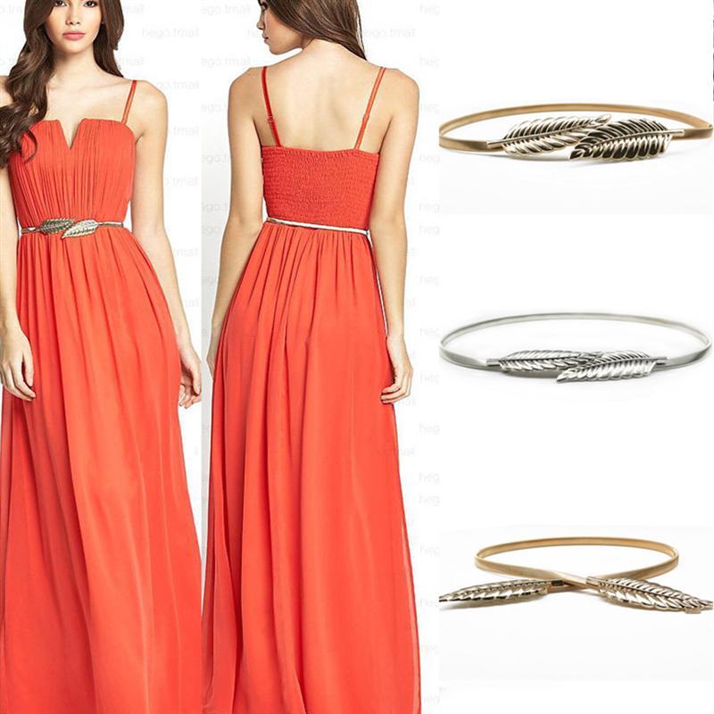 Golden Leaf Shape Wedding Elastic Strap Decorative Stretchy Skinny Belt Metal Female Strap For Women Girls
