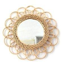 Rotin – miroir de maquillage rond, décoration artistique innovante, pour salle de bain, Dressing