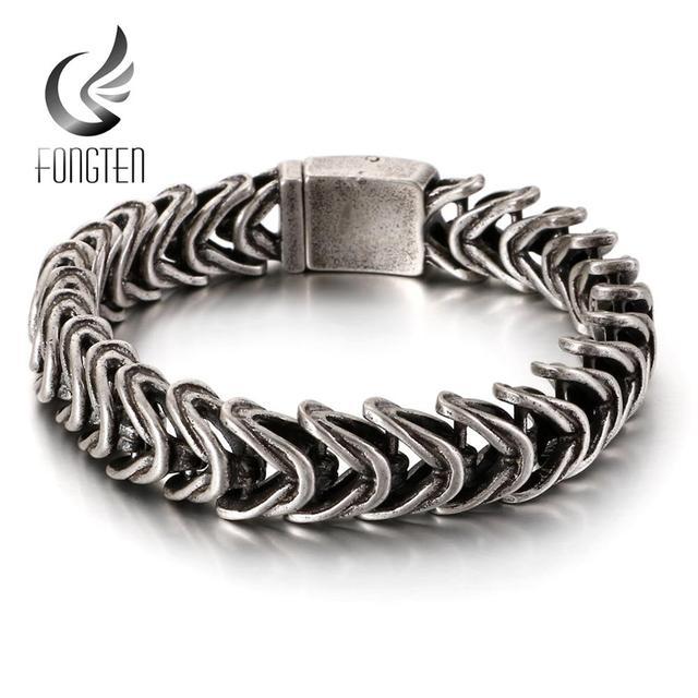 Fongten Vintage Black Snake Link Chain Bracelet Men Stainless Steel Punk Biker Charms Metal Heavy Bracelets Fashion Jewelry