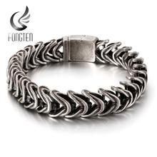 Fongten Vintage czarny wąż Link Chain Bracelet mężczyźni stal nierdzewna Punk Biker Charms metalowe ciężkie bransoletki biżuteria