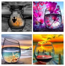 "5D DIY Diamond Painting ""Oil Lamp Cup View"" Landscape Cup 3D Embroidery Cross Stitch 3D Home Decoration Gift(China)"