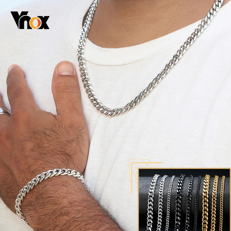 Vnox 18-70 centimetri Curb Collane A Catena 3-11 millimetri degli uomini di Miami Cuban Link Classic Punk Pesante metallo In Acciaio Inox Lunga Collana Delle Donne