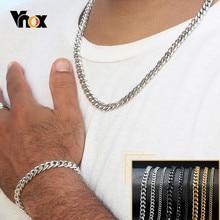 Vnox 18-70cm bordür zinciri kolye 3-11mm erkek Miami küba bağlantı klasik Punk ağır Metal paslanmaz çelik uzun kadın kolye