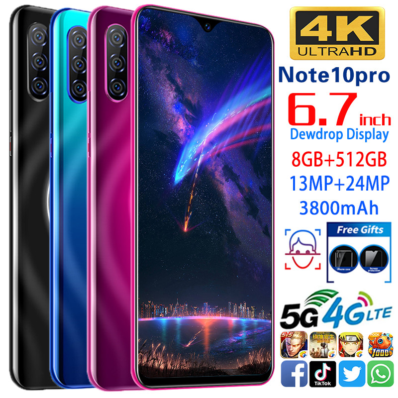 Smartphone Note10 Pro Phones MTK6595 Octa Core 6.7