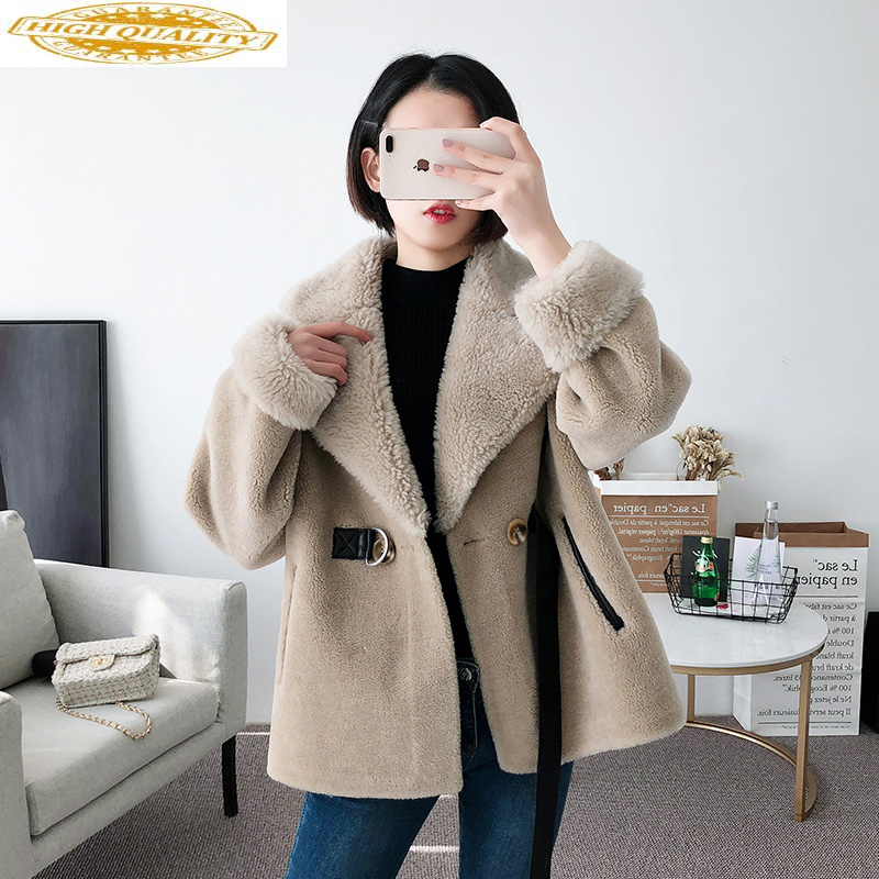 Real Fur Coat Female Autumn Winter Coat Women Korean Sheep Shearing Wool Jacket Clothes Abrigo Mujer 2020 Y737 KJ2407