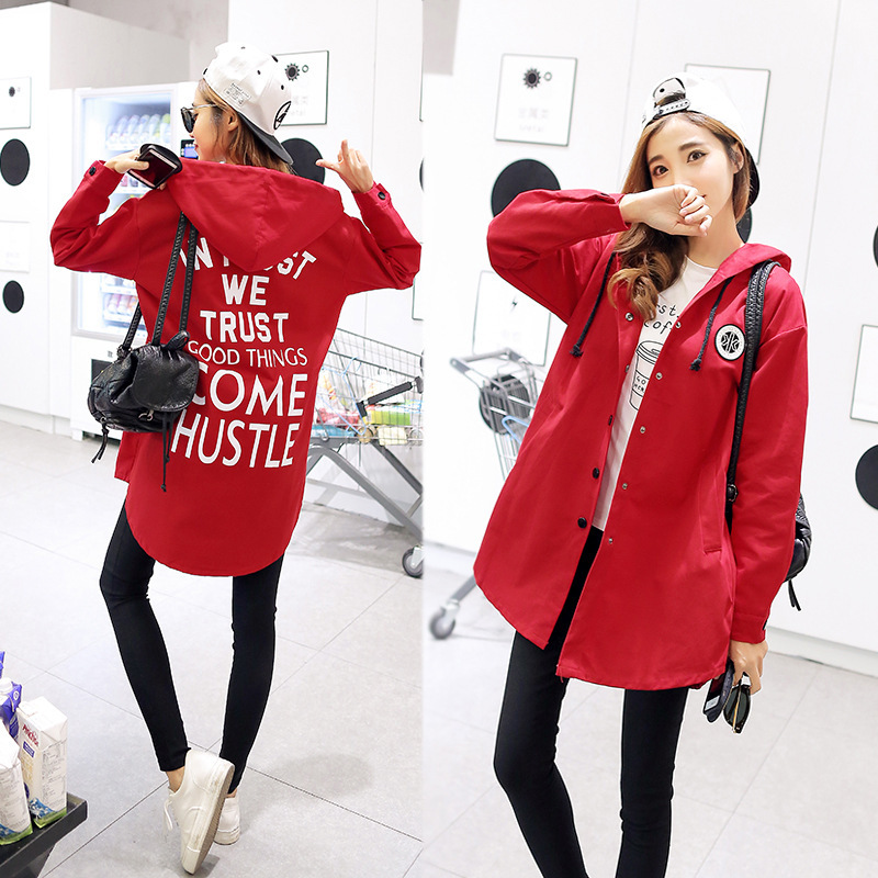 Clothing Coat Hooded-Jacket Windbreaker Spring Long-Sleeve Chic Autumn Korean Women 3xl