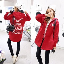 Autumn Spring Women Korean Red Long Sleeve Hooded  Jacket and Coat Elegant Windbreaker 2019 Fashion Harujuku Clothing 3xl Chic