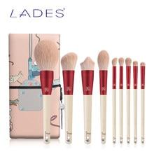 BELÄDT 9PCS Make-Up Pinsel Set Pulver Abgewinkelt Foundation Lidschatten Make Up Pinsel Kits Rot Schönheit Werkzeuge
