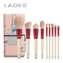 Lades 9Pcs Make-Up Kwasten Set Poeder Angled Foundation Oogschaduw Make Up Brush Kits Rode Beauty Tools