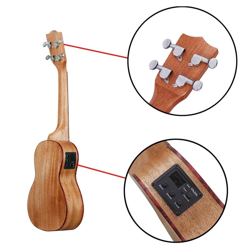 Irin 24 pouces ukulélé Ukelele Uke Kit sapélé bois avec Lcd Eq y compris sac de transport Capo cordes sangle doigt Maraca nettoyage Cl - 5