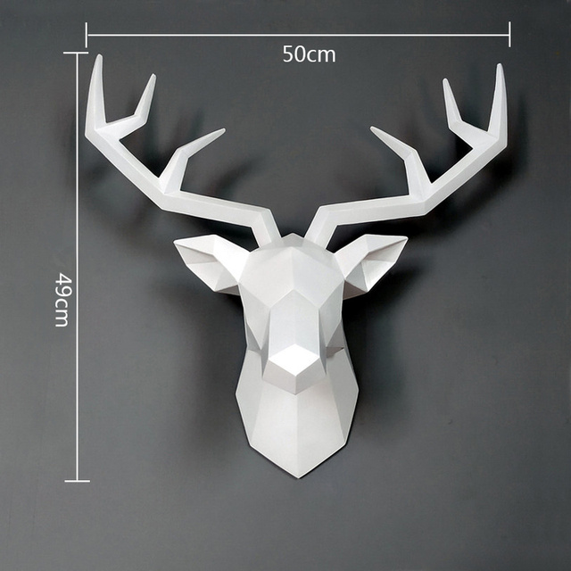 Big Deer Statue Sculpture Home Decor 50x49x20cm Hanging Wall Decoration Accessories Living Room Decor Elk Abstract Sculpture 2