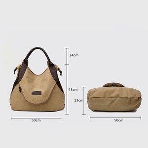 Image 3 - Jiulin ブランド大ポケットカジュアル女性のハンドバッグのショルダーバッグハンドバッグキャンバスレザー容量のバッグ女性