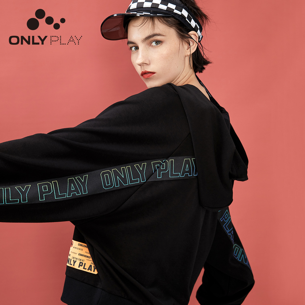 ONLY Women's Loose Fit Letter Print Hoodie | 11949S551