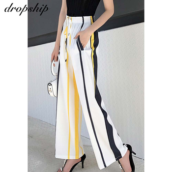 Dropship Women Chiffon Wide Leg Pants Summer Ladies Loose Elastic High Waist Stright Pants Striped Plus Size Casual Trousers цена 2017