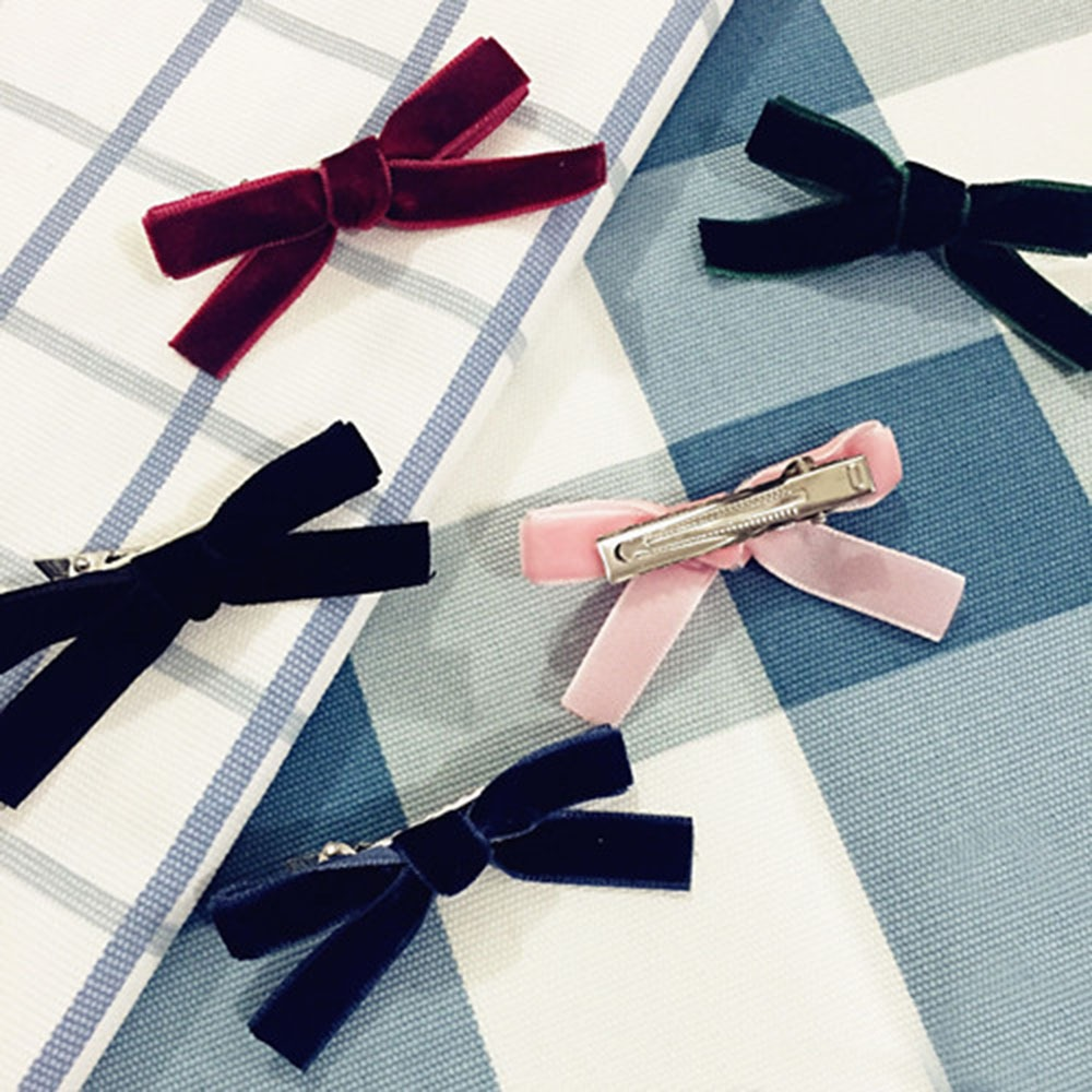 New Arrival Women's Fashion Velvet Bow Hairpins Girls Cute Lovely Hair Clips 5 Color Hair Korea Hair Accessories For Girls
