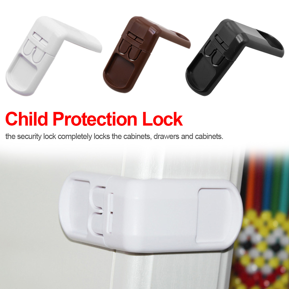 4Pcs/lot Baby Safety Protector Child Cabinet Locking Plastic Lock Protection Of Children Locking From Doors Drawers Box Lock