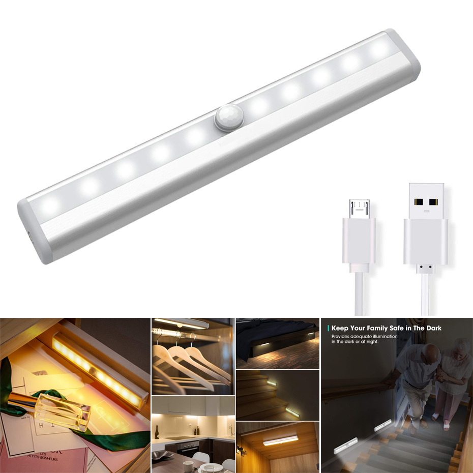 Rechargeable Cabinet PIR Motion Sensor Night Light Portable Easy Install 1.5W High Brightness 10leds Closet LED Night Light Lamp