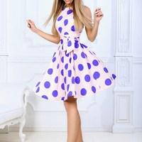 Fashion Nice Summer Women Vintage Dot Print Dress Casual O Neck Midi Dress Elegant Party Dress Female