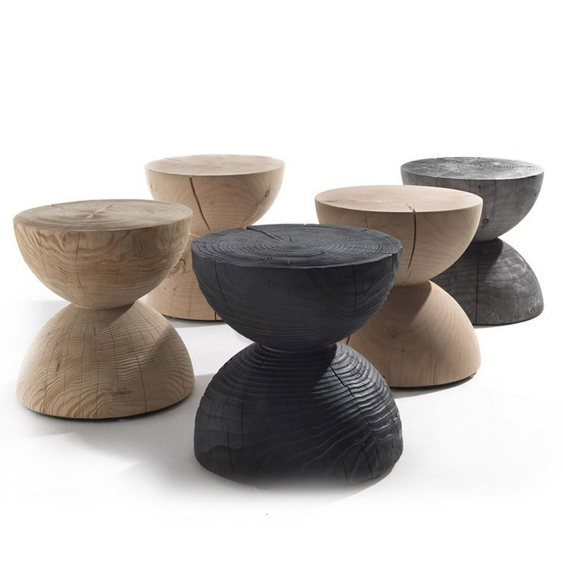 Wood Raw Wood Baidunzi Exhibition Personality Originality Round Stool You Stakes Edge Several Artist Have Designer Low Stool