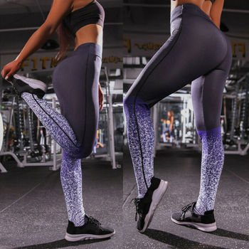 2019 Women Elastic High Waist Floral Print Stretch Leggings Fitness Yoga Pants Athletic Gym Sport Trousers image