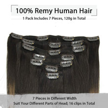 Human-Hair-Extensions Honey-Blonde Remy-Hair Clip-In Straight Full-Head Brown Natural-Black