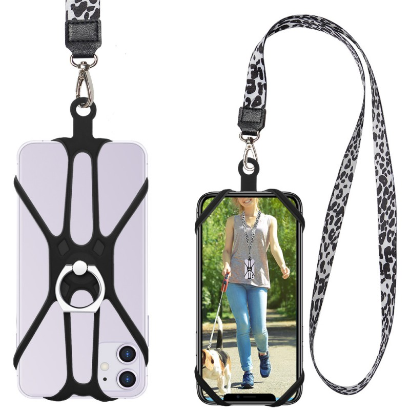 Phone Lanyard Holder With Ring Kickstand Dacron Metal Buckle Comfortable Portable Neck Strap For 4-6.5inch Smartphones