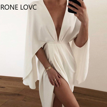 Women Sexy Sold Plunge Ruched Detail Slit Cape Sleeve Dress Party Dress