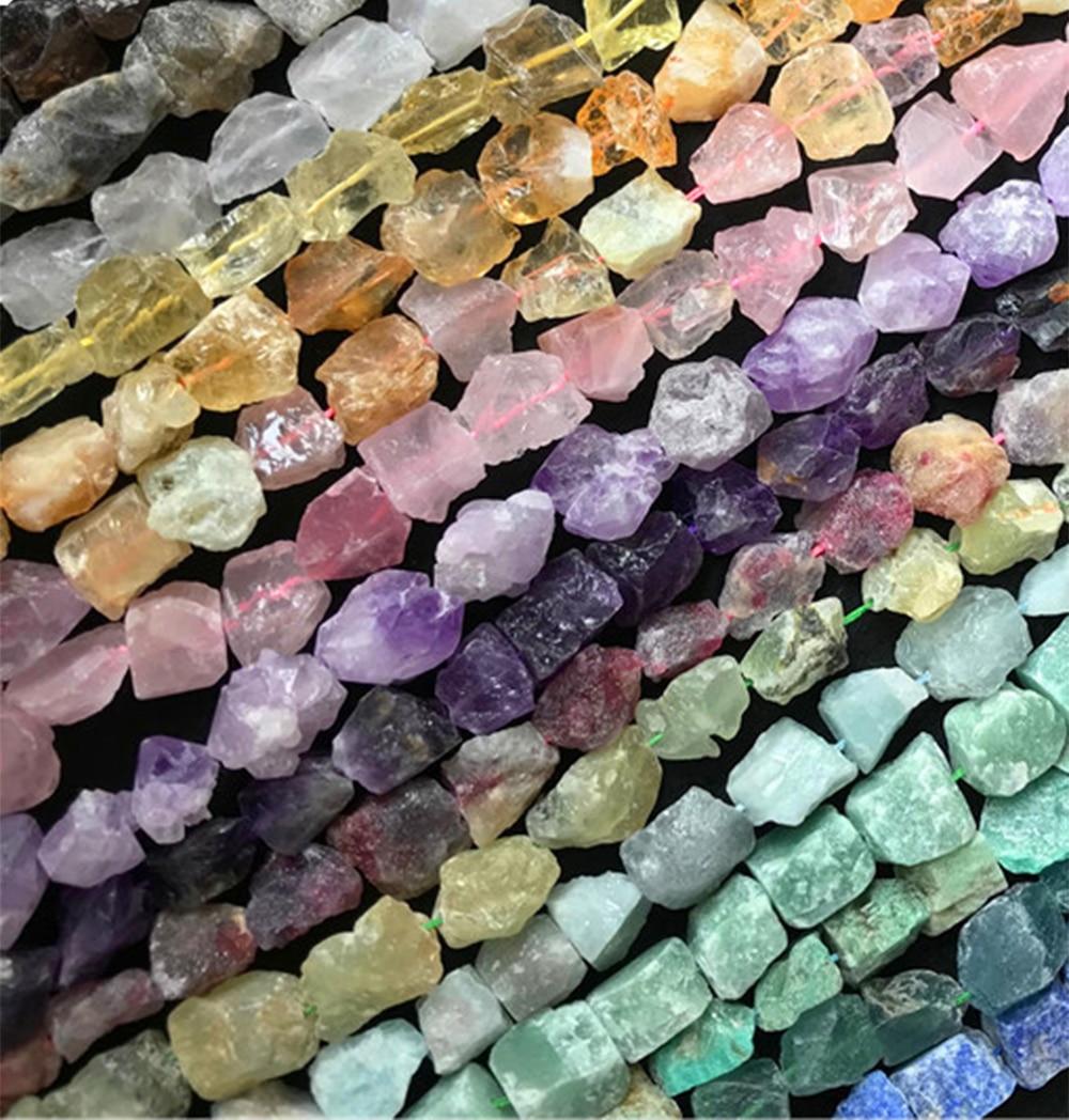 ICNWAY 24pcs Raw Gemstone 16-19mm Lapis Lazuli  Aquamarine Prehnite Tourmaline Amethyst Citrine Labradorite For Jewelry Making