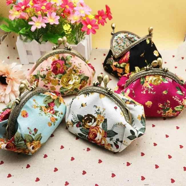 Mulheres Lady Retro Vintage Flor Pequena Bolsa Carteira Ferrolho Saco de Embreagem Estilo Chinês Carteira Carteira Bolsa Feminina Portfel