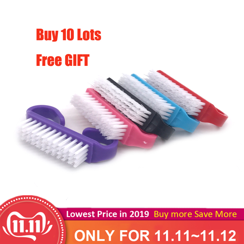 10  Piece Hot sales Nail Cleaning Clean Brush Tool File Manicure Pedicure Soft Remove Dust Small Angle Clear Tools Sets 4 Colors