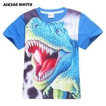 Футболки для мальчиков и девочек детские летние хлопковые футболки с принтом динозавра для подростков детская одежда футболки с короткими рукавами для детей 4, 6, 8, 11, 12 лет