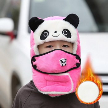 Winter Hats For Girls Boy Winter Hats Cap With Scarf Neck Masks Animal Cotton Snow Cap Earflaps Russian Hat Mask Warm