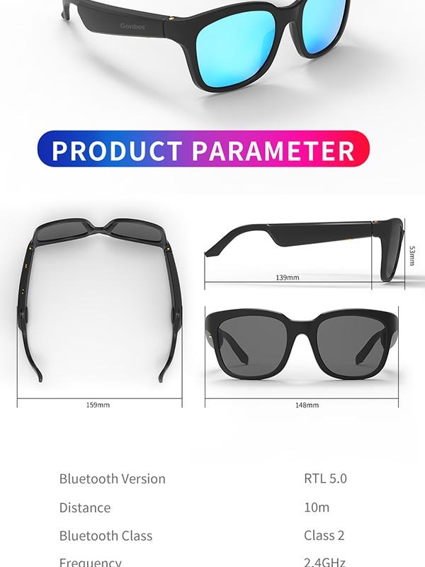 Bone Conduction Speaker Open Ear Sports Polarized Frame Wireless Smart Stereo Sound Audio Music Bluetooth Sun Glasses