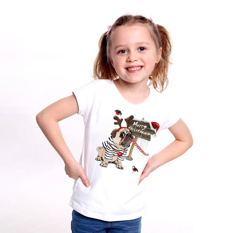 Fashion Cute Cartoon Pug Christmas <font><b>Dog</b></font> Print 2020 New Summer Baby Boys <font><b>Tshirt</b></font> Kids T-Shirts Children Cotton Girls Top Clothes image