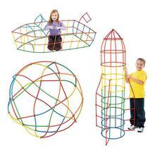 500 шт 4D соломенные строительные блоки DIY Пластиковые сборные блоки игрушка соломинка вставленная Строительная игрушка красочный развивающий подарок для детей