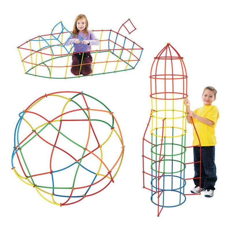 500pcs 4D Straw Building Blocks DIY Plastic Assembled Blocks Toy Straw Inserted Construction Toy Colorful Educational Kids Gift