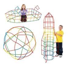 500 adet 4D saman yapı taşları DIY plastik monte blokları oyuncak saman takılı inşaat oyuncak renkli eğitici çocuk hediye