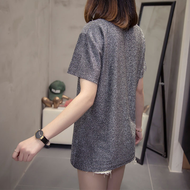 Silver English Flocking Printing T-shirts All-match 2020 Summer Loose Bright Silk Female Short Sleeved T-shirt Pullovers C1039