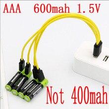 ZNTER 1,5 V AAA usb аккумулятор 600mAh литий-полимерный литий-ионный аккумулятор Зарядка от usb кабеля