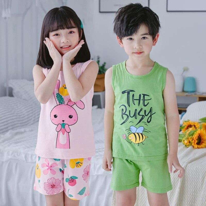 Summer Children's Pyjamas Sleeveless Girls Sleepwear Vest Shorts Suit Kids Cartoon Pajamas Clothing-Sets Baby Boy Nightwear