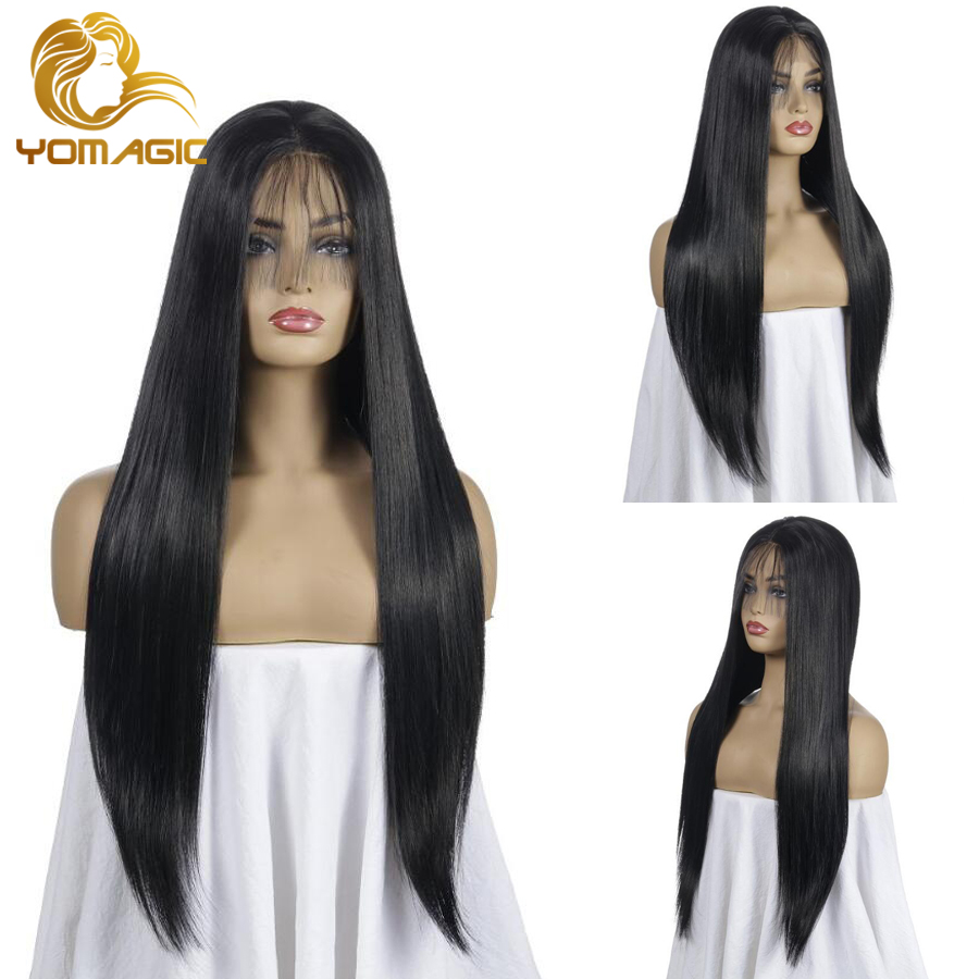 Yomagic Black Color Synthetic Hair Lace Front Wigs With Baby Hair Straight Hair Glueless Lace Wigs With Pre Plucked