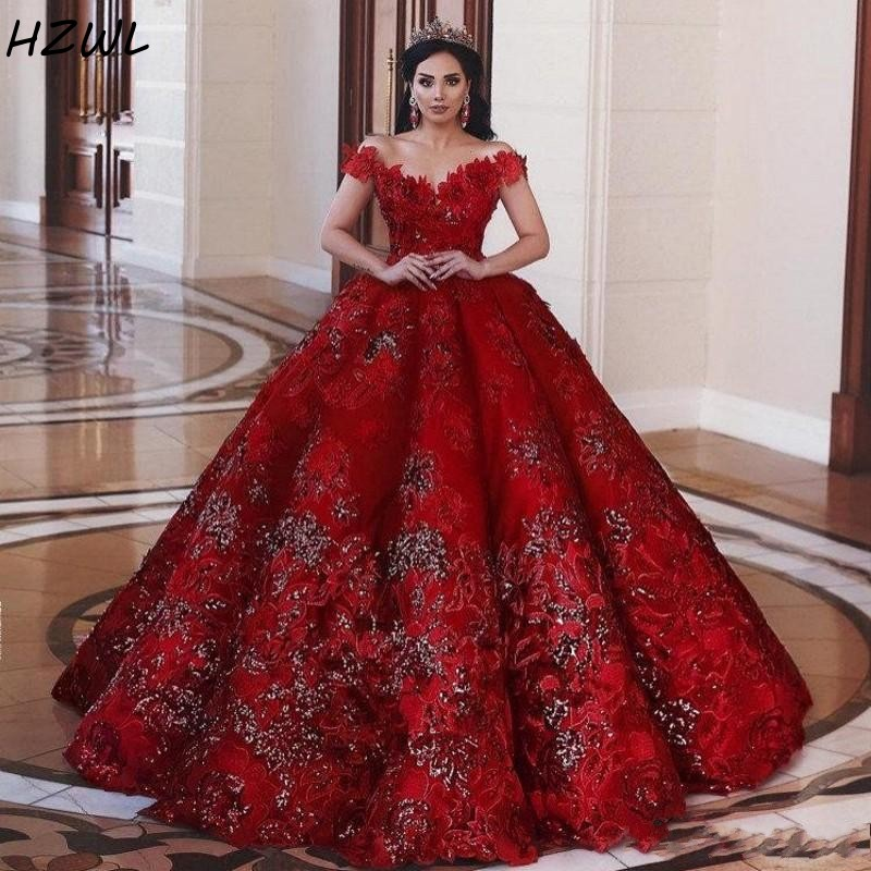 Red Off Shoulder Sequined Ball Gown Prom Dresses Dubai African Flowers Applique Plus Size Formal Evening Dress Pageant Vestidos