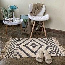 Nordic хлопок и лен ковер украшения дома журнальный столик для гостиной Одеяло Спальня кровать длинная полоса коврик можно стирать в стиральн...