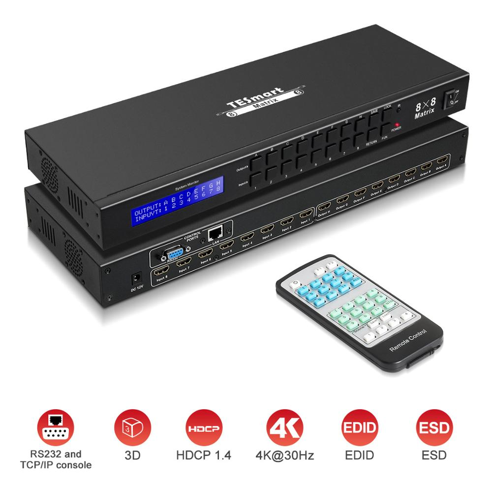 4K Ultra HD HDMI Matrix 8X8 Switcher Splitter Matrix HDMI Up 4Kx2K@30HZ 1080P@60Hz Support LAN Port Control Rack Mount HDMI 1.4