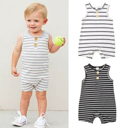 0-24M Newborn Infant Baby Girl Boy Summer One-Pieces Rompers Clothes Cotton Striped Sleeveless Jumpsuit Outfits Set