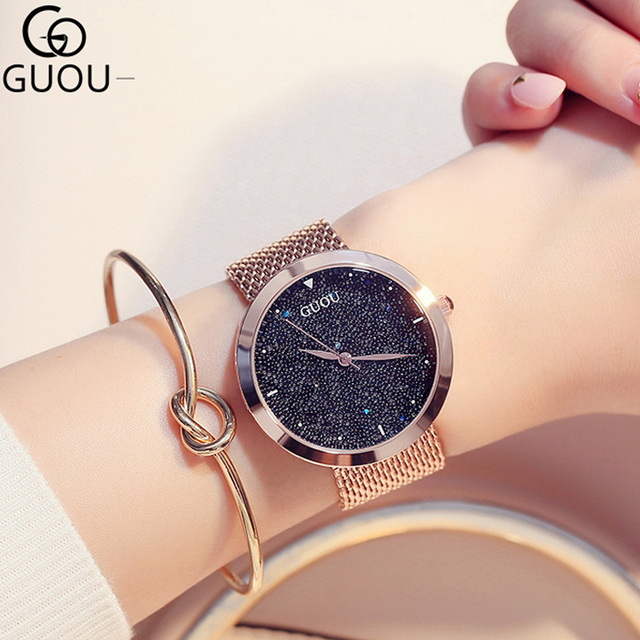 Moda kadın saatler en ünlü marka lüks yıldız gökyüzü Casual bayanlar Quartz saat kadın bilek saatler saat relogio feminino