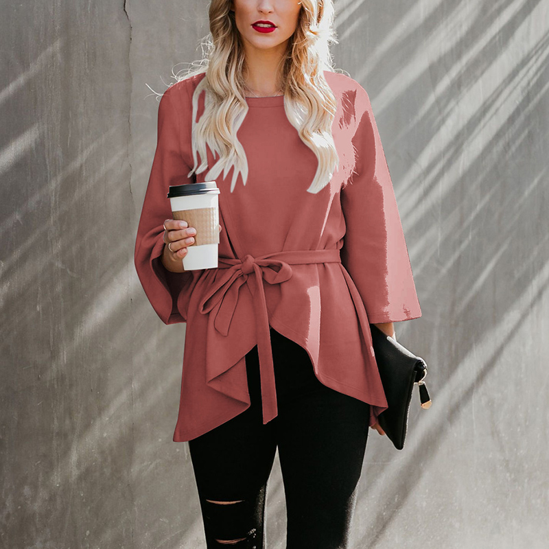 For 2019 Droppshiping Women Autumn And Winter Coat Round Neck Cropped Sleeve Faux Wool Solid Color Coat Comfortable Warm d88 in Trench from Women 39 s Clothing