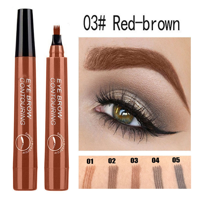 Eyebrow Enhancer With Stencil Eyes Natural Long Lasting Paint Make Up Tools Cosmetics Waterproof Black Eyebrow Pencil TSLM1 4